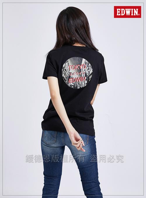 EDWIN 東京系列3M燈管TOKYO短袖T恤-女-黑色