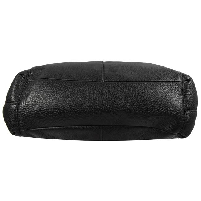 COACH 金屬LOGO荔枝牛皮三層賈姬肩背包(黑)