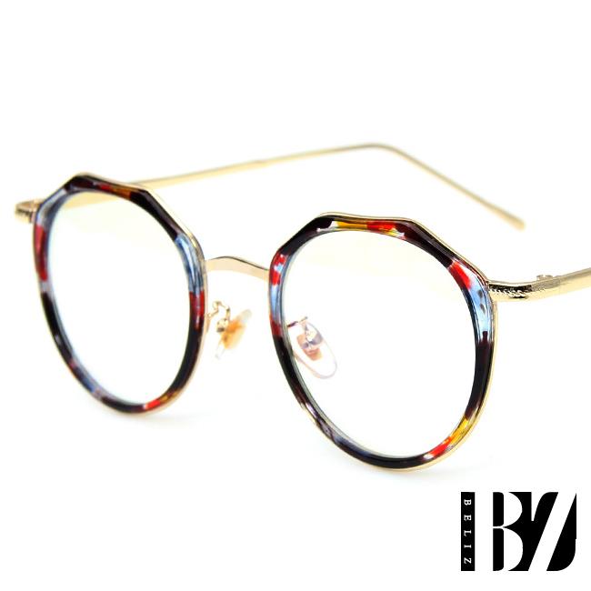 BeLiz 微透多角 迷人炫色平光眼鏡 琉璃花