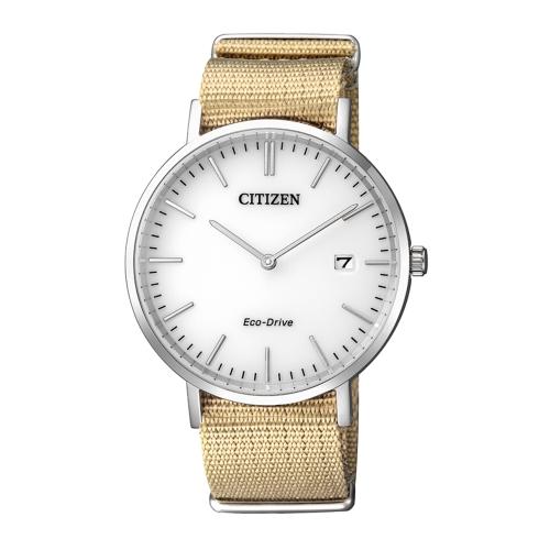 CITIZEN Eco-Drive 永恆典範時刻尼龍腕錶/白/AU1080-20A