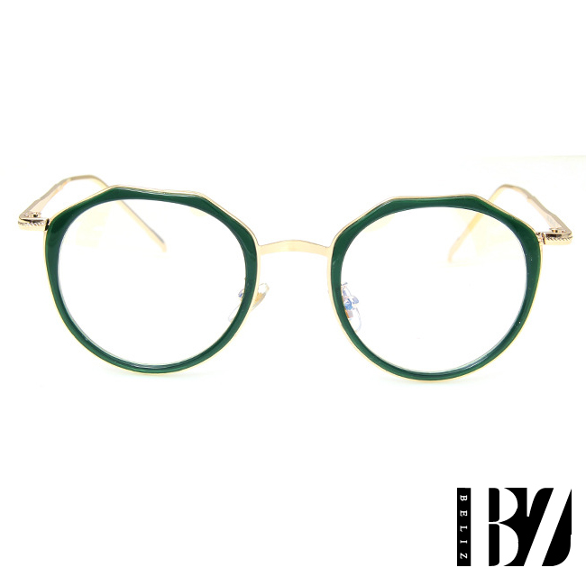 BeLiz 微透多角 迷人炫色平光眼鏡 琥珀綠