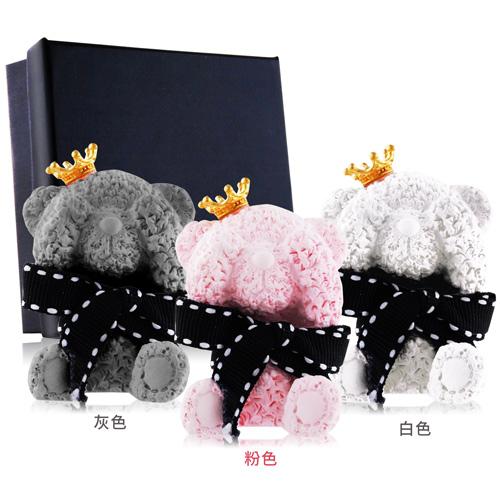 O-Pretty歐沛媞 室內車用香氛擴香石擺飾-泰迪毛毛熊-皇冠5X3.5X2.5CM