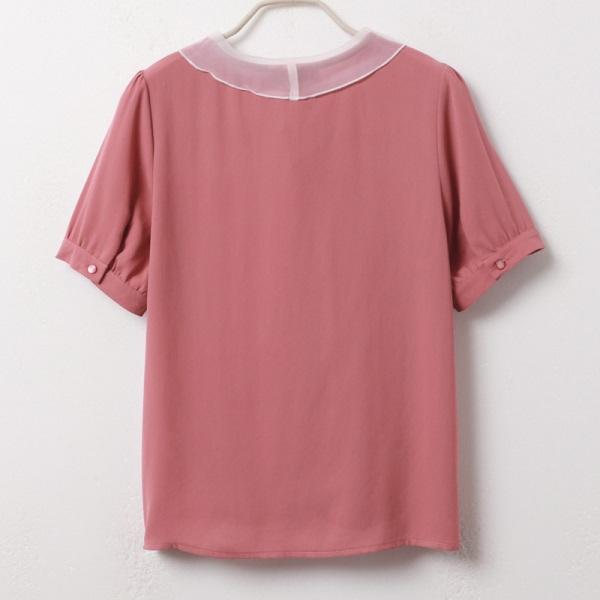 iMODA STAR-純色優雅網紗領結短拋袖上衣