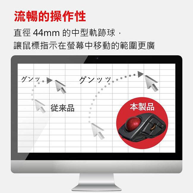 ELECOM DEFT PRO進化版8鍵無線軌跡球滑鼠