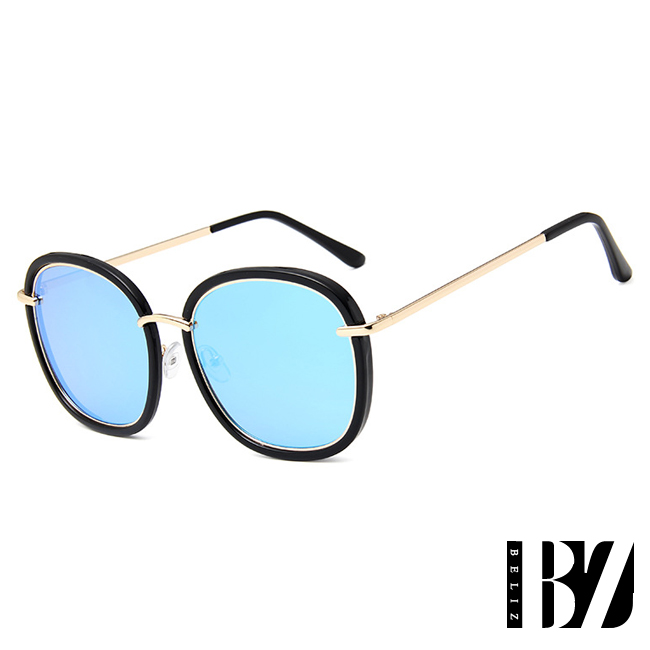 BeLiz 大圓雙框 反射炫色墨鏡 黑框藍