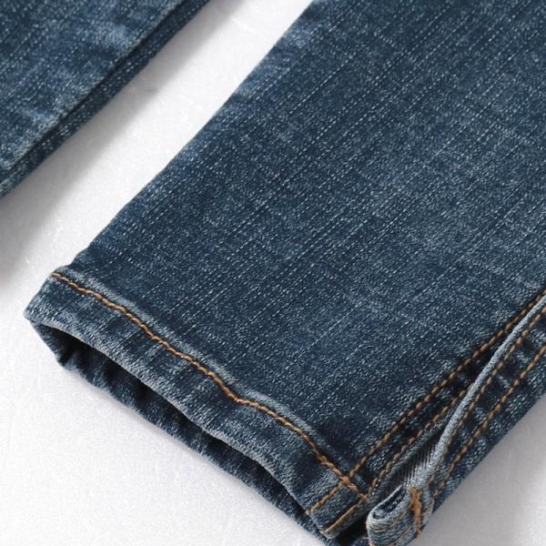 修身褲管開衩小割破彈性牛仔褲-OB大尺碼