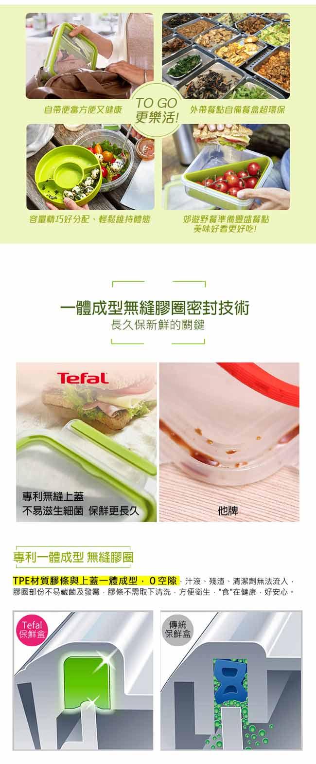 Tefal 特福 德國EMSA原裝 樂活系列PP保鮮盒(優格盒+三明治盒)