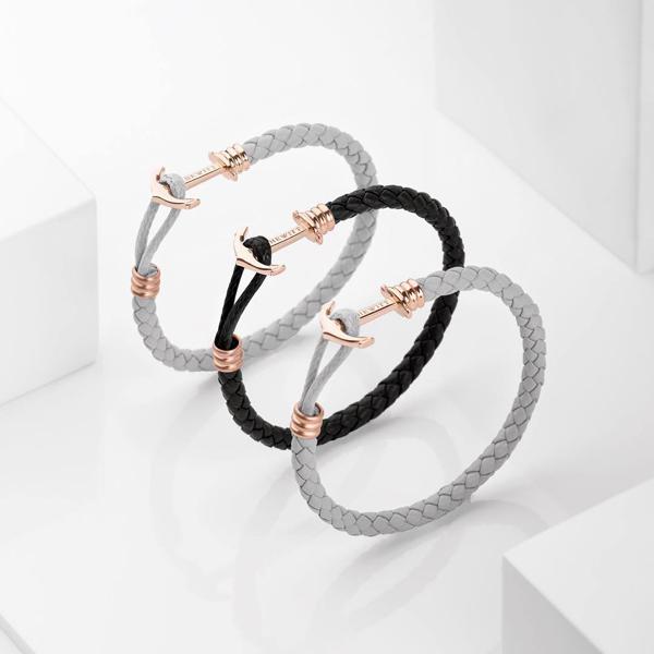 PAUL HEWITT 單繩銀釦皮革手環-黑