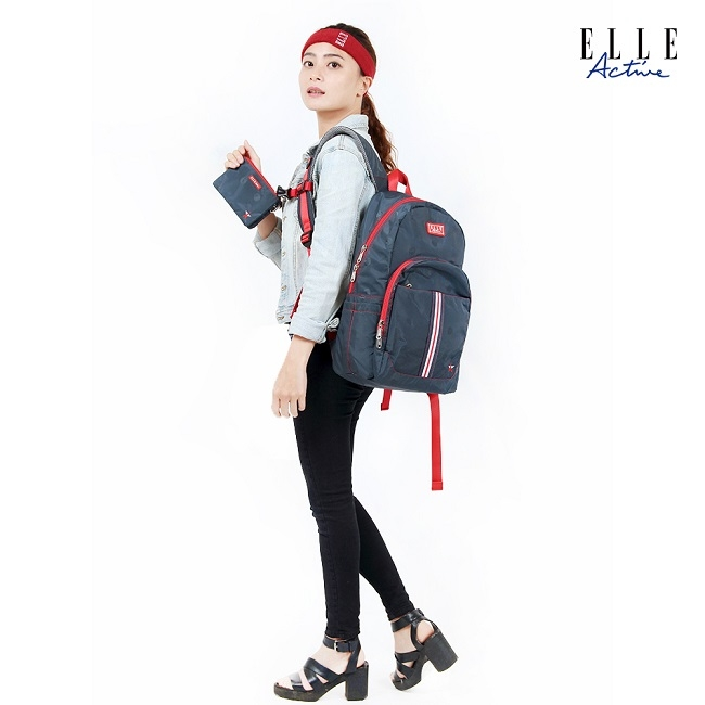 ELLE Active 經典復刻系列-後背包-大-藍色
