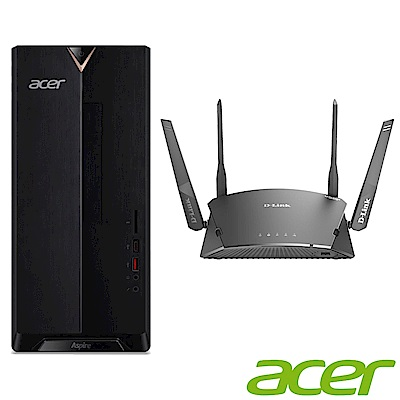 Acer XC-885 九代i5六核雙碟獨顯桌上型電腦(i5-9400F/GT 1030/8G/1T/256G/Win10h)+D-Link Wi-Fi Mesh 雙頻無線分享器組合