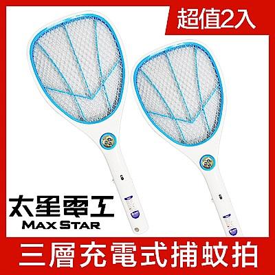 (超值2入) 太星電工 打耳蚊鋰電池USB充電式捕蚊拍(8號) DW801