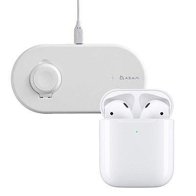 Apple超值組-AirPods搭配無線充電盒+亞果2合1無線充電