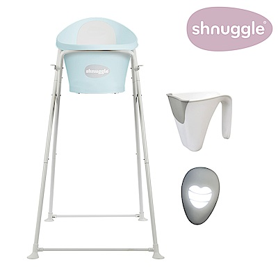 【英國Shnuggle】月亮澡盆四件組-香草綠-月亮澡盆+專用架U2+小小水瓢+變色溫度計