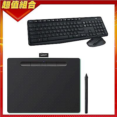 (送羅技mk315鍵鼠組)Wacom Intuos Comfort Plus Medium 繪圖板 (藍芽版)