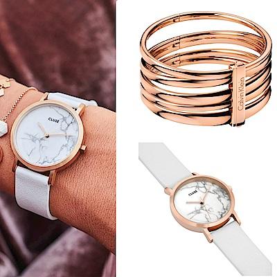 CLUSE La Roche腕錶/ 玫瑰金框/ 天然大理石白底/ 皮革錶帶(CL40110)-+CK 寬版手環