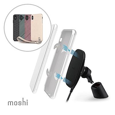[超值組]Moshi Altra forXS Max 腕帶保護殼+磁吸無線充電手機車用支架