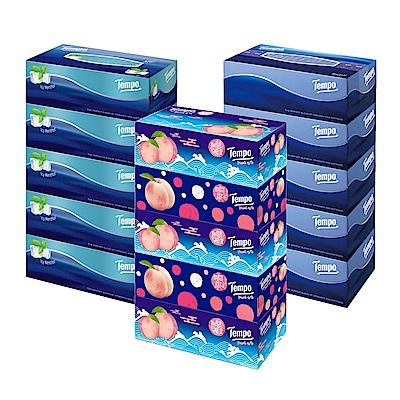 Tempo三層盒裝面紙86抽x5盒x3串(種類可選)