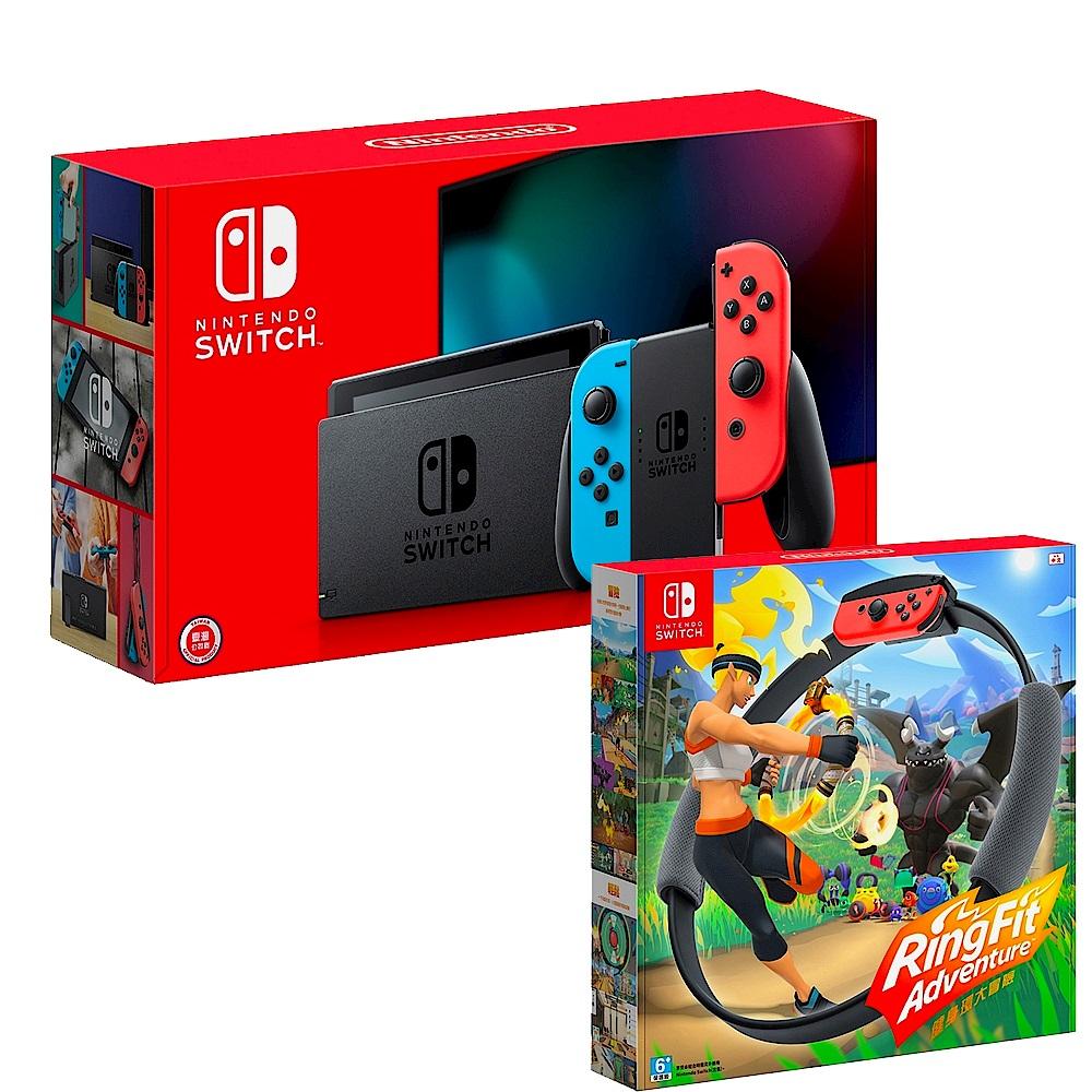 任天堂 Nintendo Switch 新款主機 續航加強版 電光藍/紅 x 健身環大冒險 product image 1