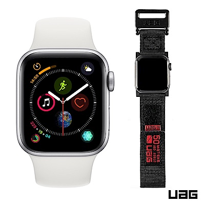 Apple超值組- Watch S4 40mm銀鋁殼白錶帶 + UAG時尚錶帶