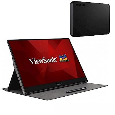 (超值組) ViewSonic TD1655 16型 IPS觸控式可攜帶電腦螢幕+TOSHIBA A3 4TB USB3.0 2.5吋行動硬碟 黑靚潮III product thumbnail 2