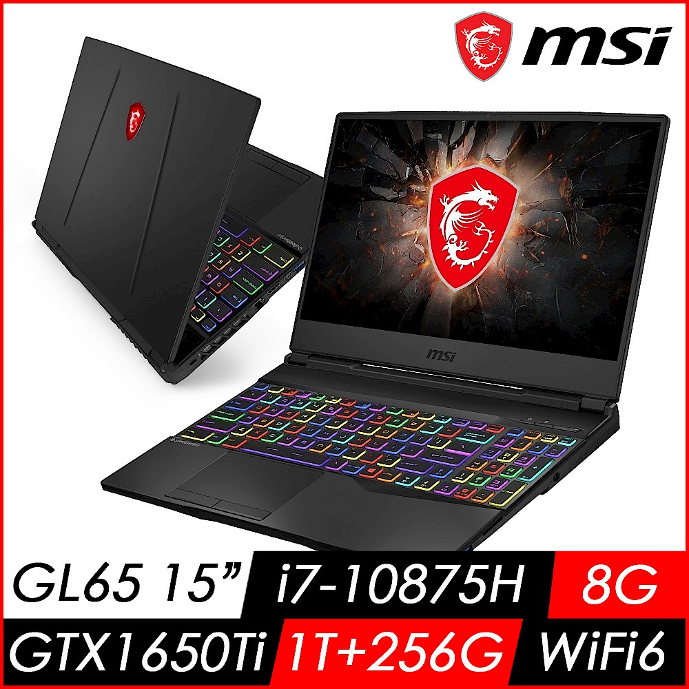(送8G記憶體 升級16G) MSI微星 GL65 10SCSK-037TW 15吋電競筆電(i7-10875H/8G/1T+256GSSD/GTX1650Ti-4G/Win10) product image 1