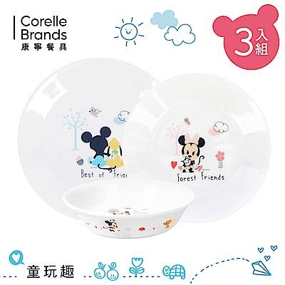 【康寧CORELLE】童玩趣 米奇/米妮 餐盤碗3件組-MNC0301