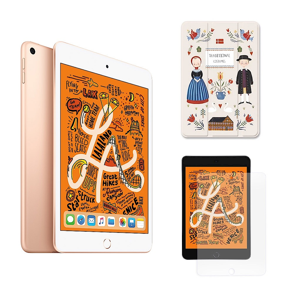 Apple超值組- iPad mini 5 64G + 漁夫原創保護殼 + 保護貼