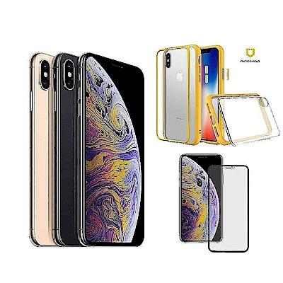 Apple超值組- iPhone Xs 64GB + 犀牛盾邊框背蓋殼 + 霧面3D滿版玻