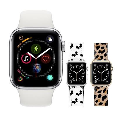 Apple超值組-Watch S4 LTE 44mm銀鋁殼白錶帶+Casetify時尚錶帶
