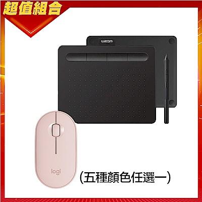 【動漫學習包】Wacom Intuos Basic 繪圖板(黑)+羅技 M350 鵝卵石無線滑鼠