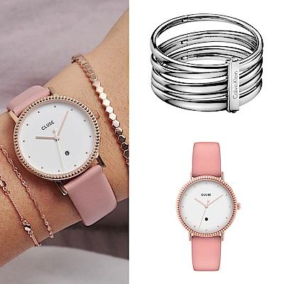 CLUSE Le Couronnement加冕系列(玫瑰金框/白錶面/粉色皮錶帶)33mm + CK 寬版銀色手環
