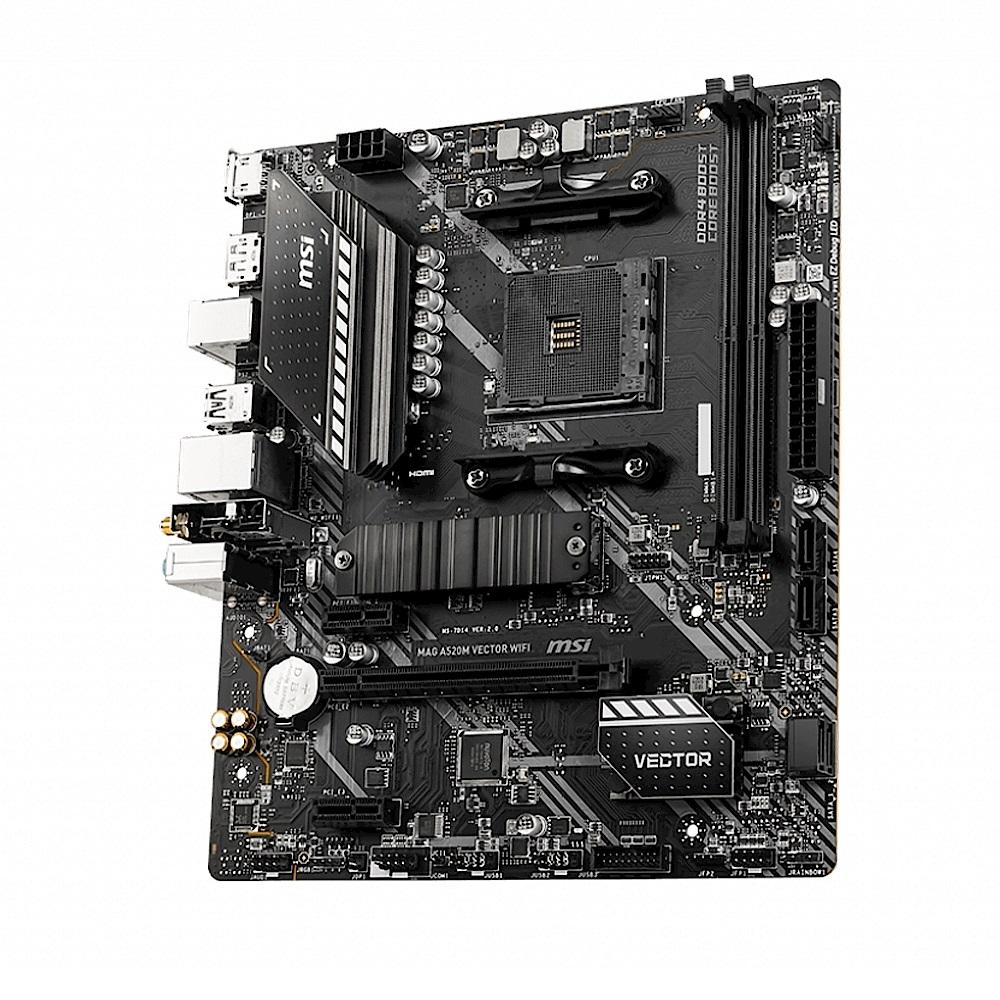 (A520+R3 3100) MSI微星 MAG A520M VECTOR WIFI 主機板 + AMD Ryzen3 3100 3.6GHz 四核心 中央處理器 product image 1