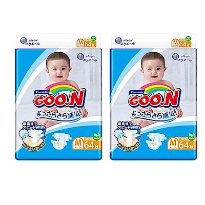 [2箱組]GOO.N日本大王境內版-黏貼型紙尿褲(M)-64片x4包/箱-透氣舒柔