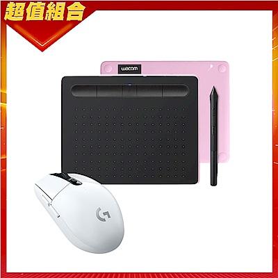 【動漫達人包】Wacom Intuos Comfort Small 藍牙繪圖板(粉紅)+羅技 G304無線電競滑鼠