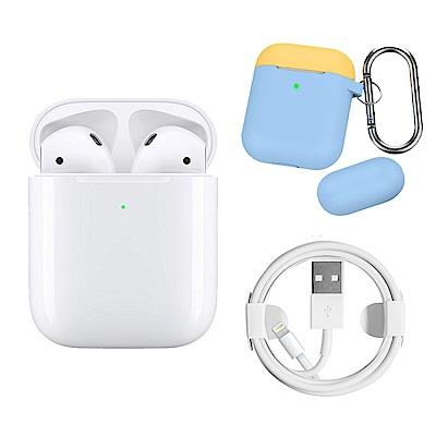 Apple超值組-AirPods搭配無線充電盒+2入組充電線+撞色矽膠保護套