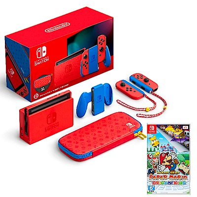 任天堂 Nintendo Switch 瑪利歐亮麗紅x亮麗藍 主機+遊戲片組合(台灣公司貨)