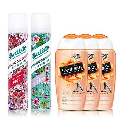 Batiste秀髮乾洗噴劑 2入組+贈芳芯私密潔膚露x3