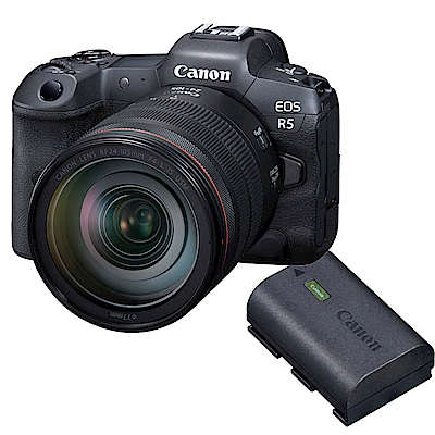 EOS R5 單鏡組 RF 24-105mm f/4 IS USM + Canon 原廠電池 LP-E6NH 組