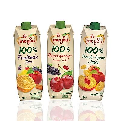 Meysu獨特口味三入組(酸櫻桃葡萄汁+綜合果汁+水蜜桃蘋果)吳鳳推薦