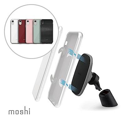 [超值組]Moshi XR風尚晶亮保護殼+ SnapTo 磁吸手機車用支架