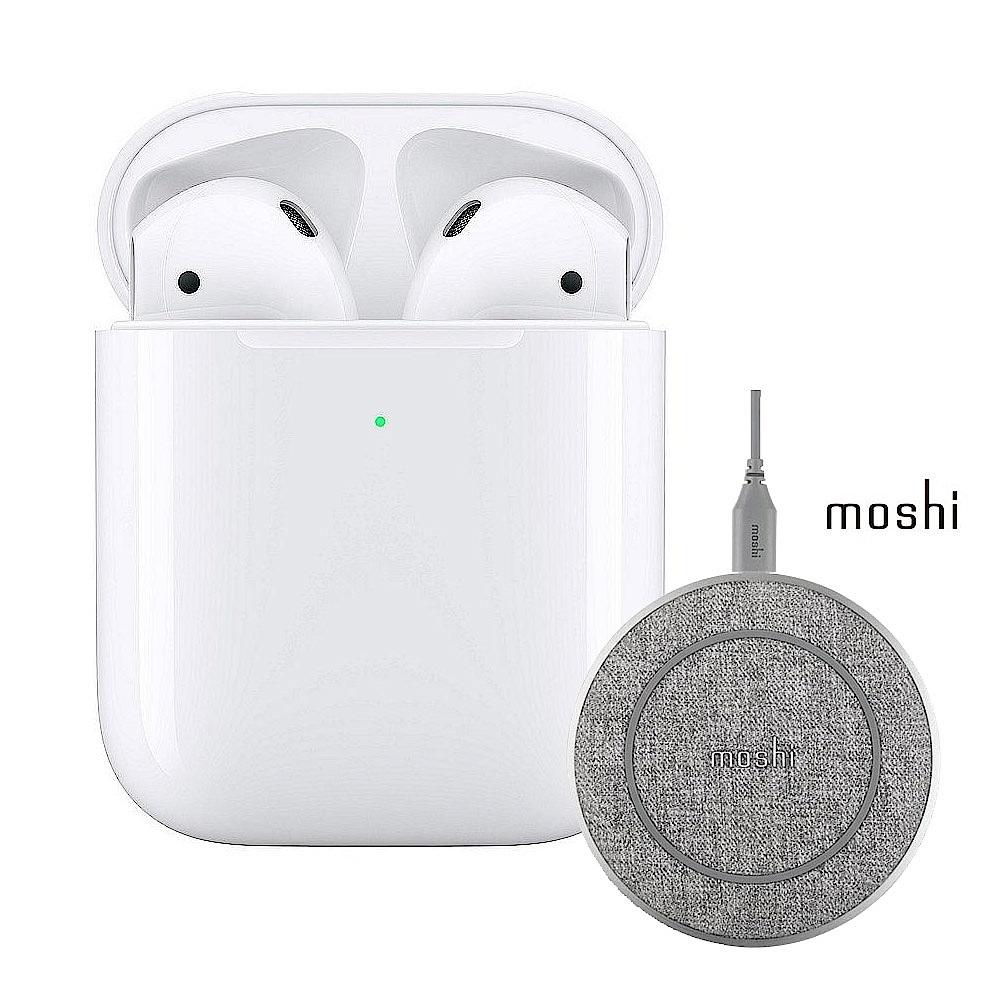Apple超值組-AirPods搭配無線充電盒 + Moshi 10W無線充電盤