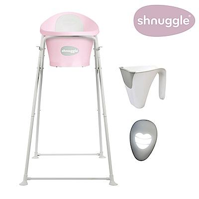 【英國Shnuggle】月亮澡盆四件組-櫻花粉-月亮澡盆+專用架U2+小小水瓢+變色溫度計