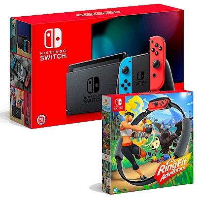 任天堂 Nintendo Switch 健身環大冒險 + Switch 續航加強版電光藍/紅 組合
