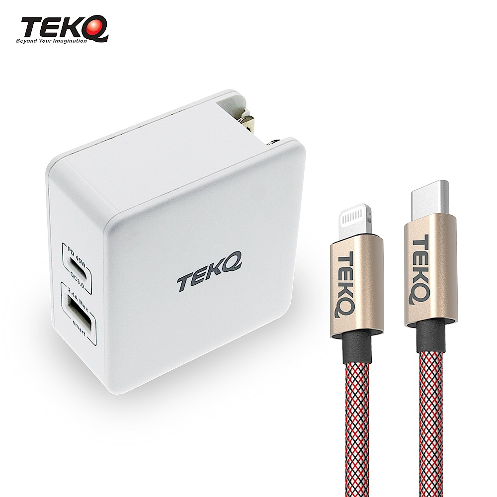 [組合]TEKQ 57W 2孔 USB-C USB PD QC3.0 快充旅充充電器 + TEKQ 蘋果MFI認證 USB-C to Lightning 快充傳輸線 200cm product image 1