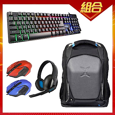 (時時樂限定)FOXXRAY 電競鍵盤+滑鼠+耳麥+背包《四合一超值組》