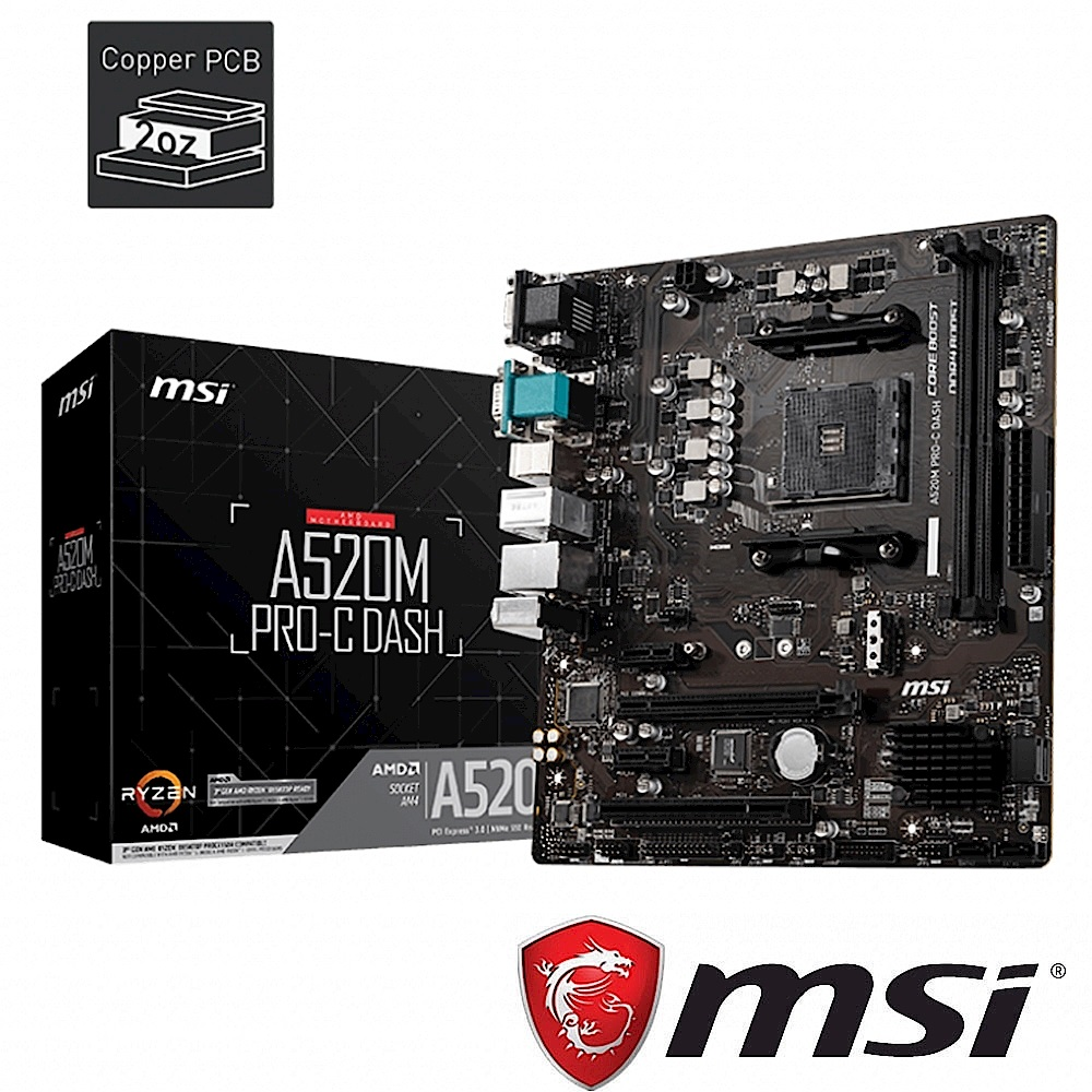 (A520+R5 3600) MSI微星 A520M PRO-C DASH 主機板 + AMD Ryzen 5 3600 3.6GHz 六核心 中央處理器 product image 1