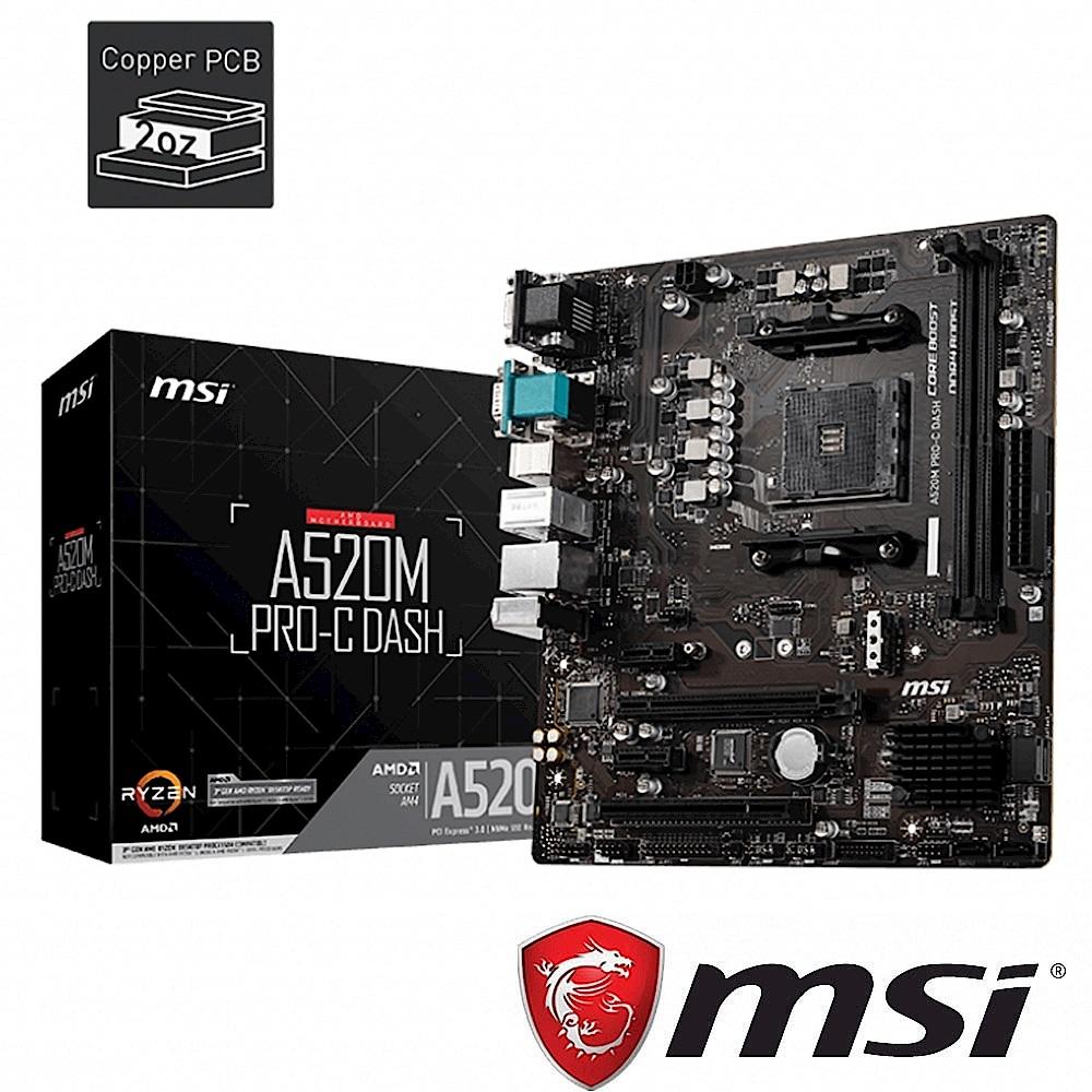 (A520+R3 3100) MSI微星 A520M PRO-C DASH 主機板 + AMD Ryzen3 3100 3.6GHz 四核心 中央處理器 product image 1