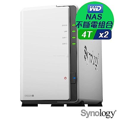 (NAS不斷電組合)WD 4TB 2入組 NAS硬碟(WD40EFZX)+ Synology DS220j 網路儲存伺服器+ 伊頓 離線式UPS不斷電系統 A-1000
