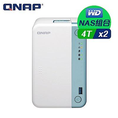 【NAS組合】WD 4TB 2入組 NAS硬碟(WD4003FFBX)+ QNAP TS-251D-2G 網路儲存伺服器
