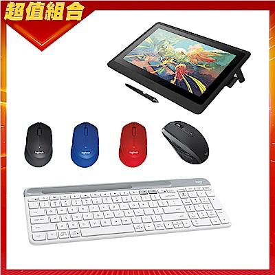 超值組-Wacom Cintiq 16 專業液晶感壓繪圖板+羅技 MX Anywhere 2S 無線滑鼠-黑色+K580超薄跨平台藍芽鍵盤+M331 SilentPlus 靜音滑鼠